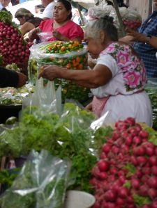typical seller at the market in Merida