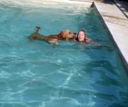 Teaching Iggy how to swim in the pool