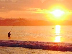 Fishing at sunrise Christmas eve